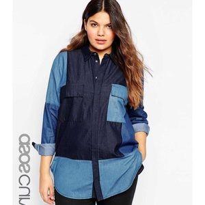 ASOS Curve Color Block Denim Shirt